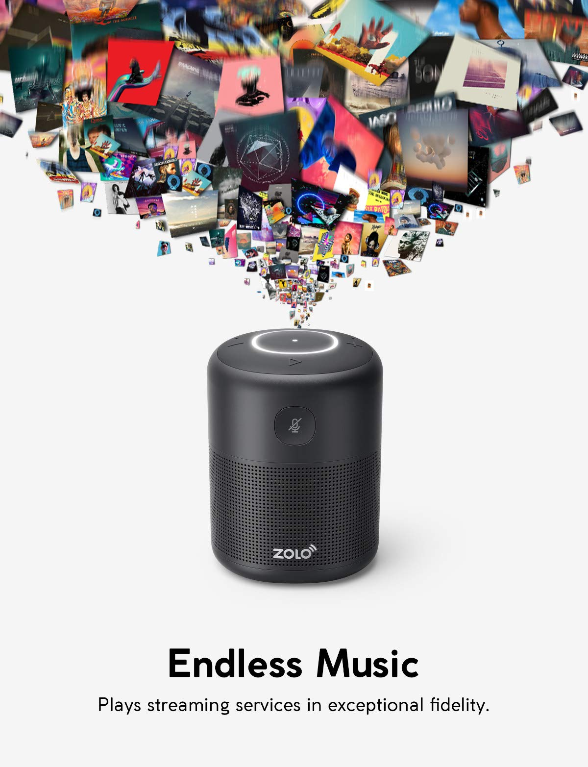 ZOLO Halo Bluetooth and Wi-Fi Smart Speaker with Alexa and Powerful Sound,  Voice Control, and Stream Amazon Music Unlimited,Spotify,TuneIn,