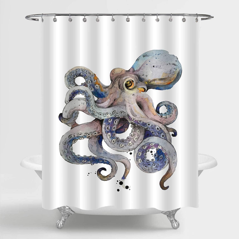 MitoVilla Retro Octopus Shower Curtain, Cartoon Cute Octopus Kraken Wildlife Bathroom Decor for Kids Boys, Mens and Ocean Animal Lovers Octopus Gifts, Grey, 72