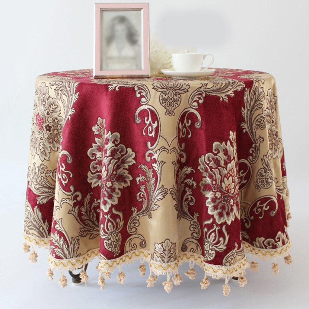 L&Y Tableware Europäischen Stil High Grade Pastoralen Stil Runde Tischdecke Mode Druck Home Pastoralen Tischdecken Couchtisch Tuch (Farbe   rot, größe   D180 cm) B0784QJ2X4 Tischdecken Sehr gute Qualität | Komfort