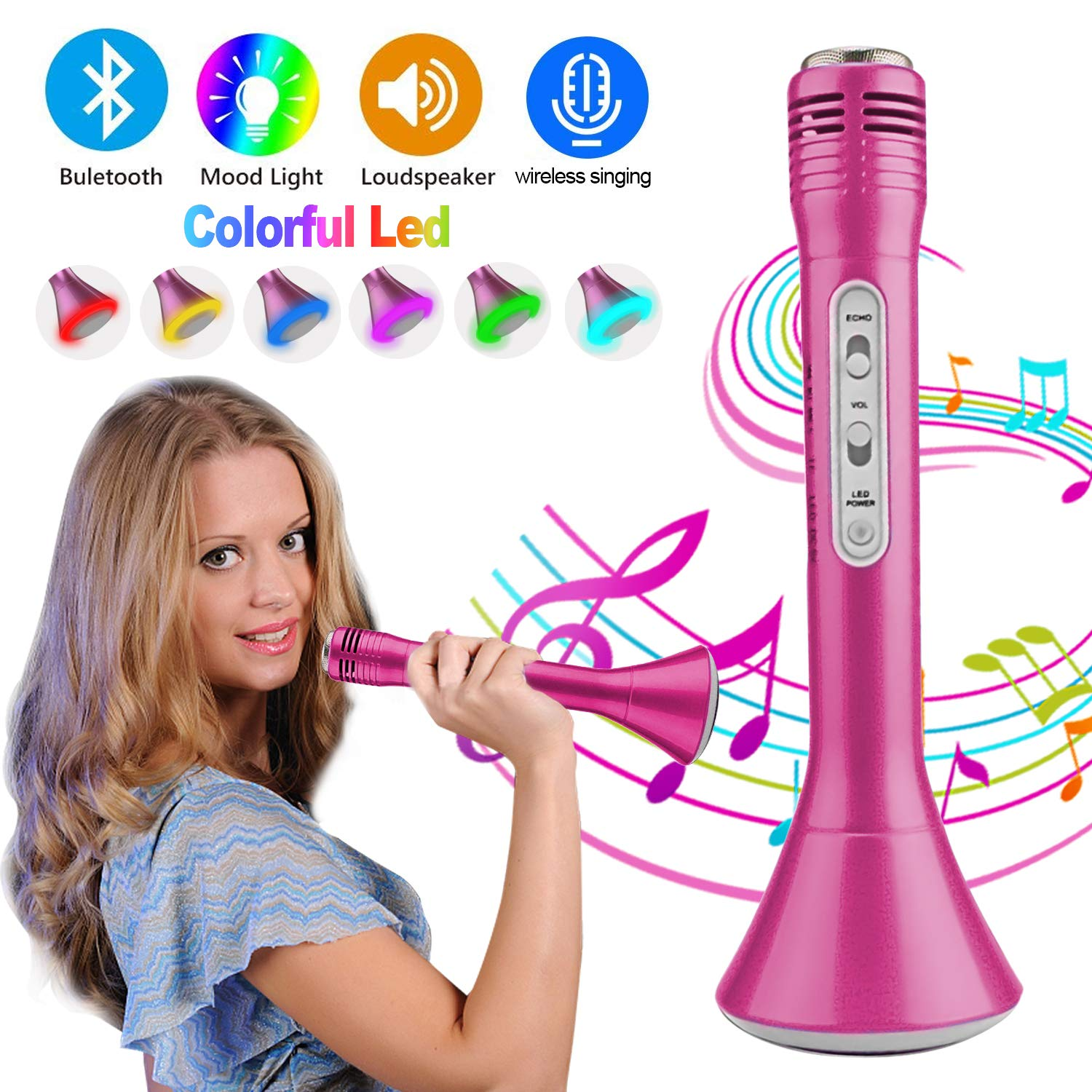 Kids Wireless Karaoke Microphone with Speaker Colorful LED Light for Girls Boys Toddlers Portable Handheld Bluetooth Music Toys for Singing Music Playing Party KTV Support iOS Android Birthday Gifts by iGeeKid (Image #1)