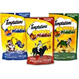 Temptations Cat Treats Cheezy Middles Variety Pack - 3 Flavors (Tuna & Cheese, Chicken & Cheese, and Beef & Cheese Flavors) 3 Pouches - 2.47 Oz Each