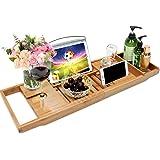 Rubik Bath Tray, Bamboo Bathtub Tray Caddy with Extending Sides, Mug Wineglass Smartphone Holder, Metal Frame Book Pad Tablet Holder, Detachable Sliding Tray, Non-Slip Premium