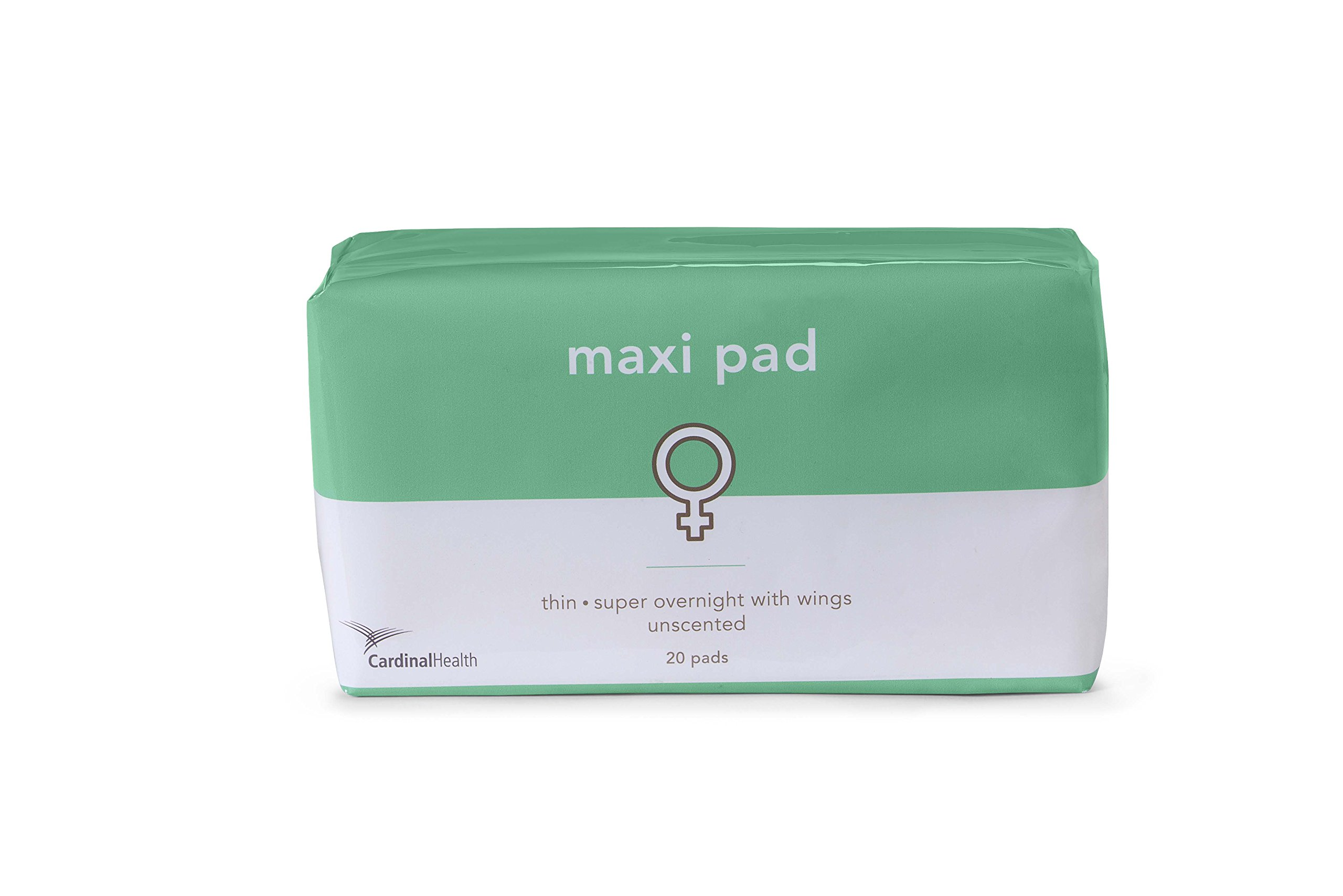 Cardinal Health FH-PADPUR Maxi Pad Heavy Absorbency Overnight Winged Adhesive Unscented, Pack of 20