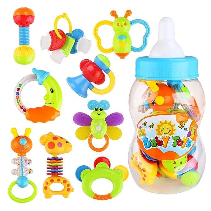 54 opinioni per NUOLUX Giocattoli Sonagli Shake Rattle per Neonati Bambini 9 pezzi (colore