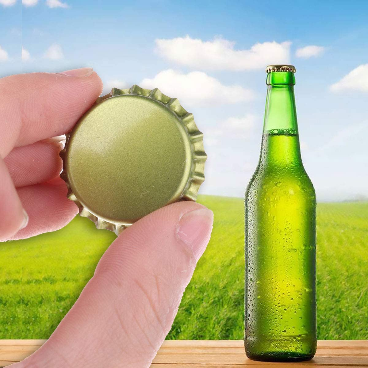 TiaoBug 50 Count Oxygen Absorbing Beer Bottle Crown Caps for Home brewing Homebrew Crafts Gold One Size