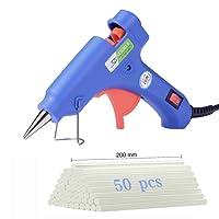 Mini Pistola Colla a Caldo, [50 Pezzi Colla Stick 7*200mm] Colla di Fusione ad Alta Temperatura Pistola a Colla Kit Grilletto Flessibile per DIY Fai Da Te Progetti Artigianali, Imballaggio, Uso Domestico, Hobby Carta Plastica la Creazione Legno - 20Walt (Blu)