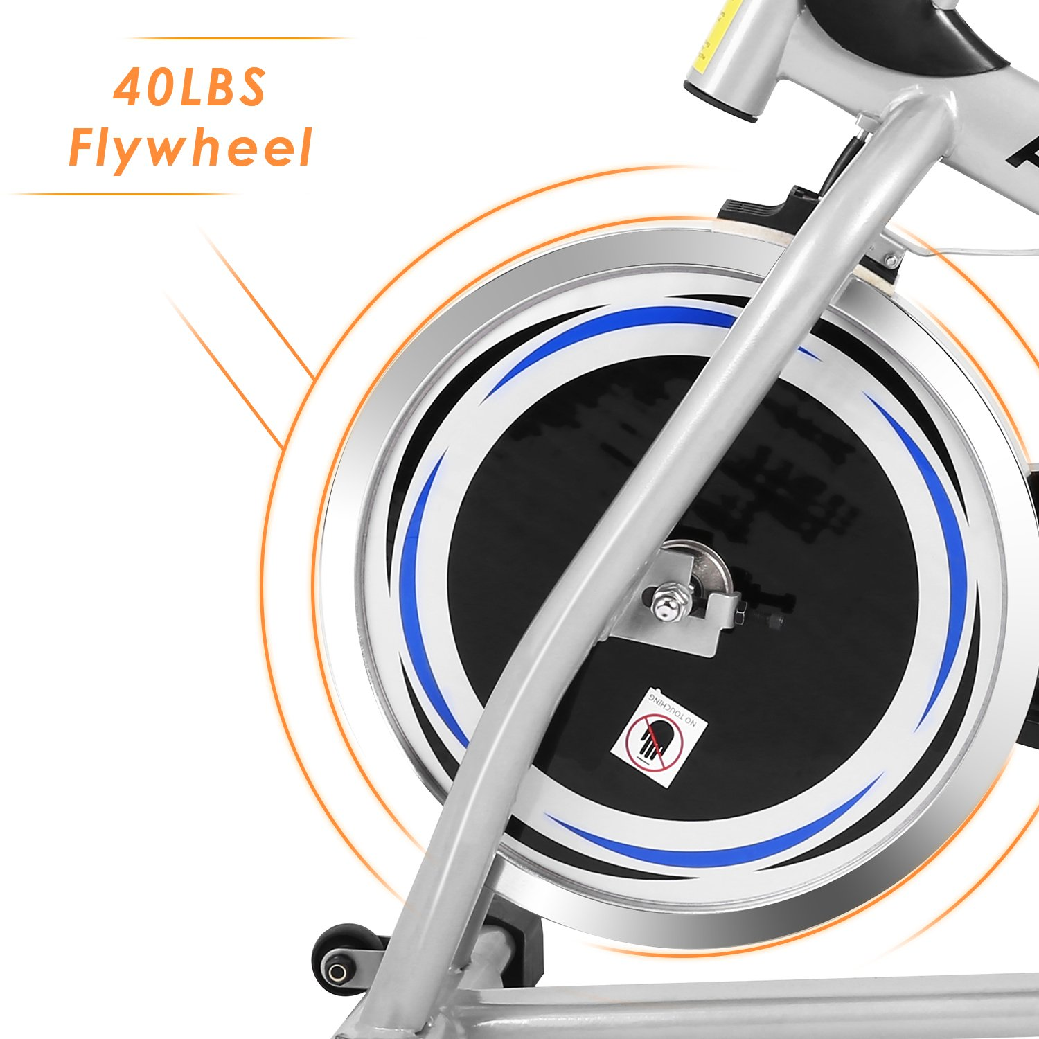 ANCHEER Stationary Bike, 40 LBS Flywheel Belt Drive Indoor Cycling Exercise Bike with Pulse, Elbow Tray (Model: ANCHEER-A5001) (Sliver) by ANCHEER (Image #3)