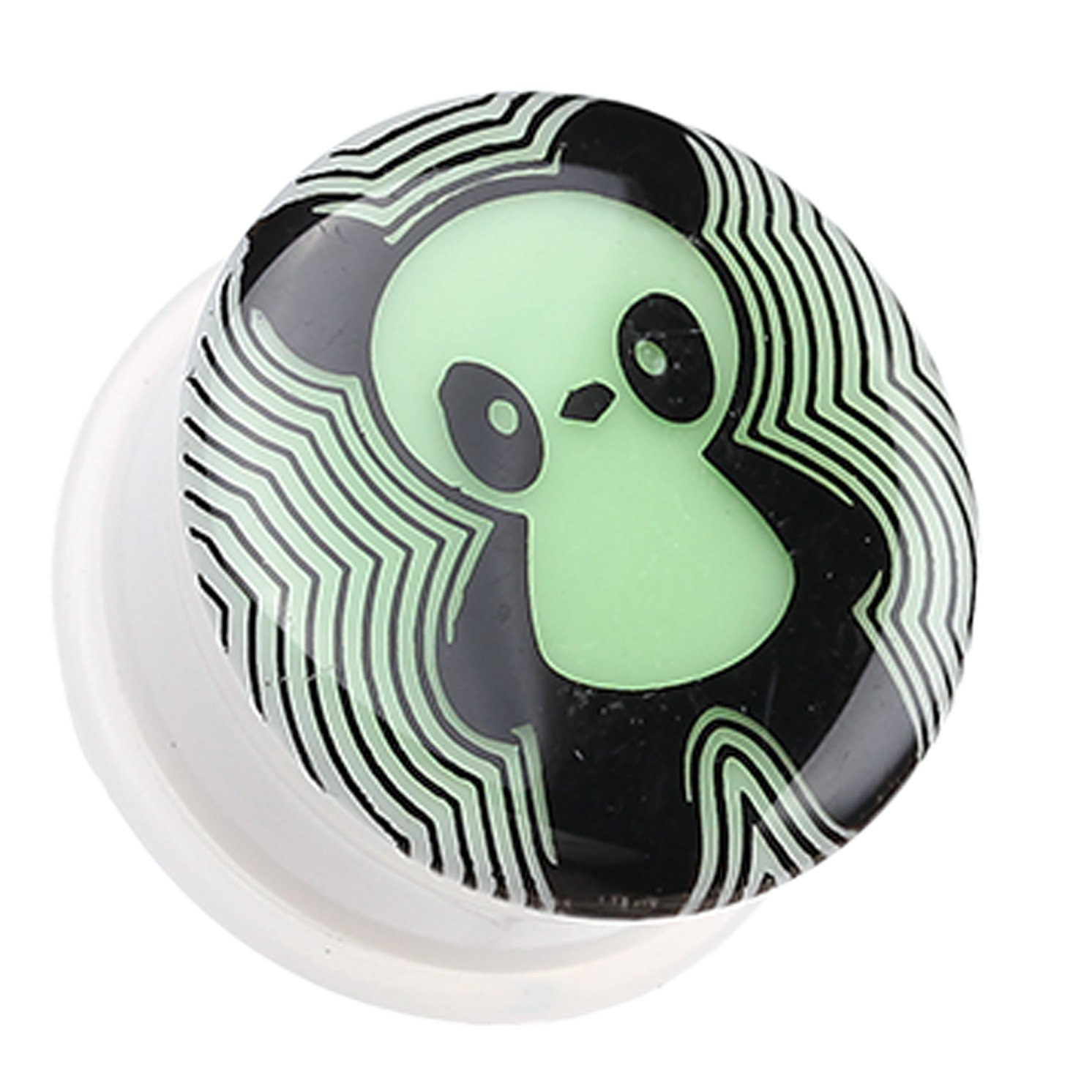 Sold as a Pair Glow in the Dark Panda Single Flared Ear Gauge Plug