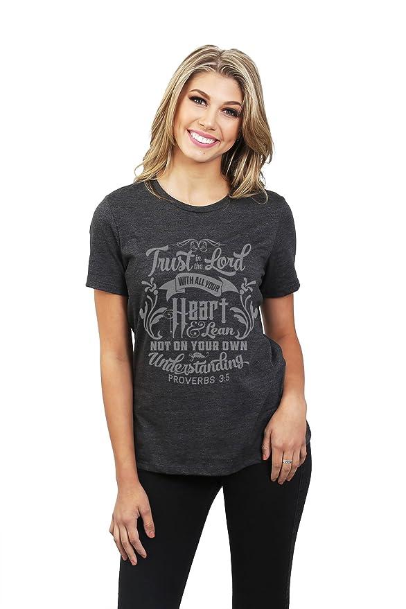 Depósito de rosca confianza en el Señor relajado mujeres camiseta T, color gris - Gris -: Amazon.es: Ropa y accesorios