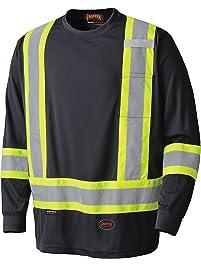 Pioneer Soft Moisture-Wicking Reflective Hi-Vis Long Sleeve Shirt, Premium Birdseye, Black, L, V1051270-L
