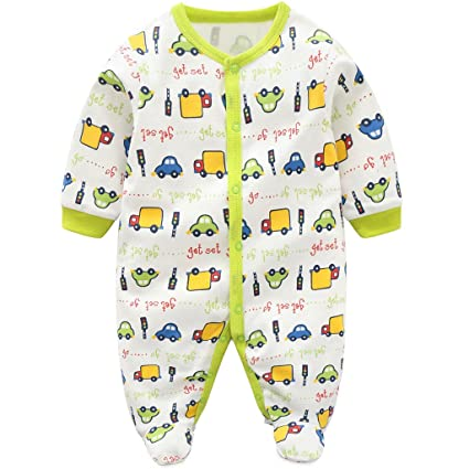 Recién nacido Bebé Pijama de Algodón Mameluco Niños Pelele Mono Manga Larga Trajes 0-3