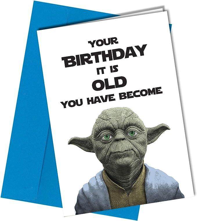 #208 YODA BEST DAD Birthday Fathers Day Card Adult Rude Funny Joke