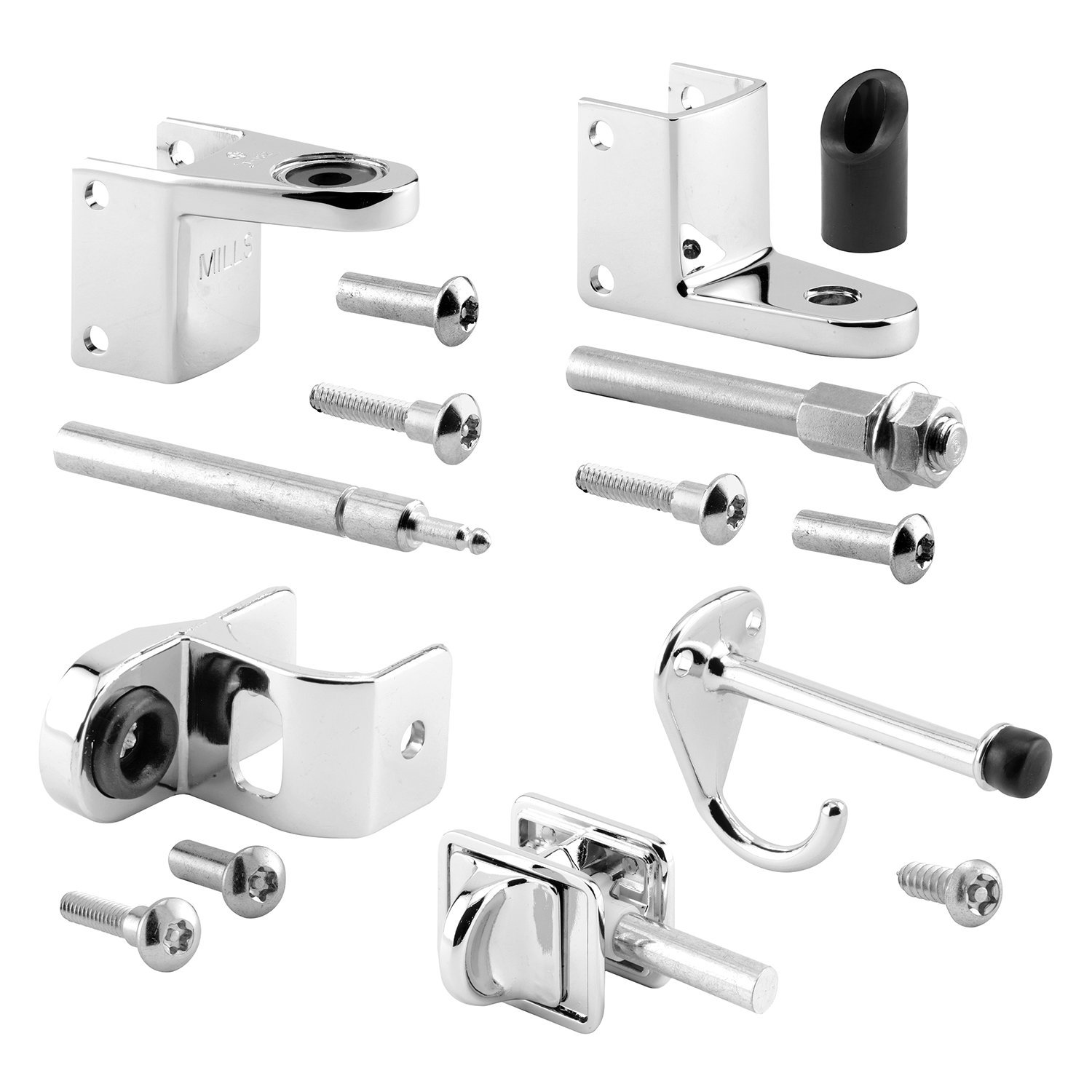 Zamak Pack of 1 Kit Chrome Plated 1-1//4In Pilaster Sentry Supply 656-6737-T Door Kit 3//4In Door Outswing