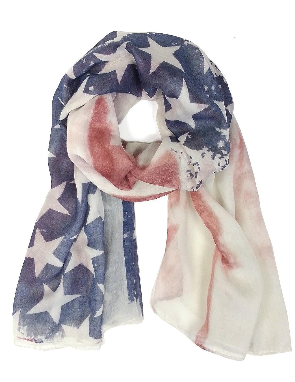 Vintage Feel American US Flag Print Shawl Scarf