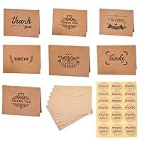 PH PandaHall - 42 tarjetas de agradecimiento en blanco con sobres pegatinas para Día de Acción de Gracias, día de San Valentín, día de la madre, día festivo, felicitación