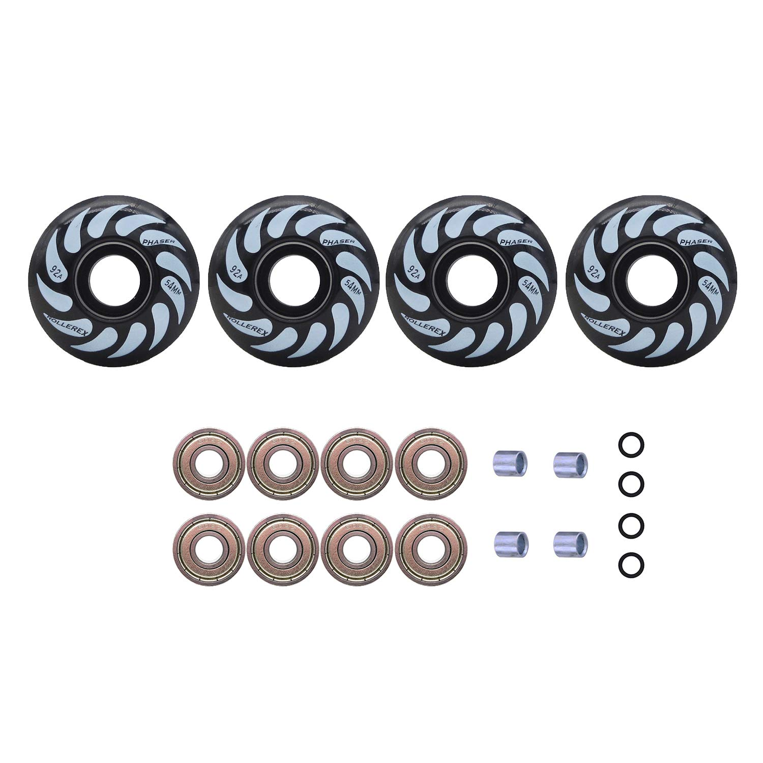 Rollerex Phaser 92A 54mm Skateboard Wheels (Steel Black (w/Bearings, spacers and washers), 54mm) by Rollerex