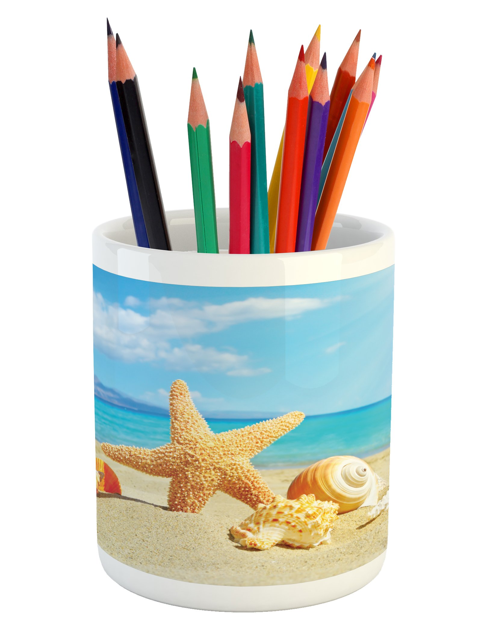 Ambesonne Seashells Pencil Pen Holder, Summer Beach Theme and Sand with Rays in The Sky Clouds Seaside Marine, Printed Ceramic Pencil Pen Holder for Desk Office Accessory, Aqua Ivory Mustard