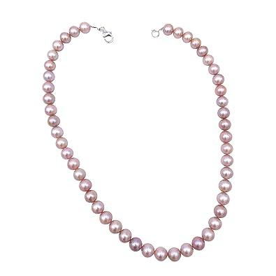 11dd4d90a963 Pearl Caviar - Collar de perlas de cultivo de agua dulce. Calidad Exclusive  AAA - Color Rosa - Cierre Plata 925 brillante - enfilage sobre hilo de  seda  ...