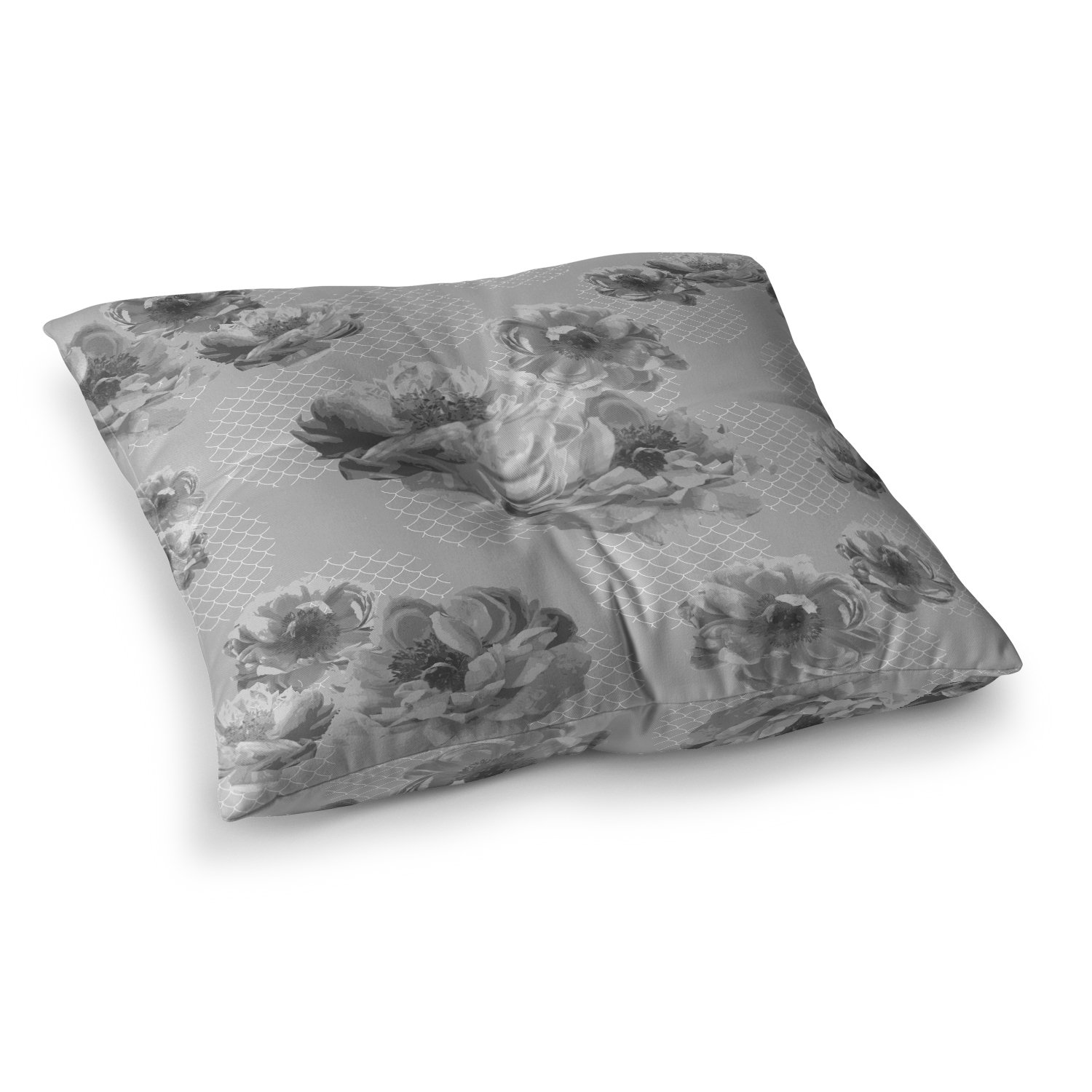 Kess InHouse Pellerina Design Lace Peony in Gray Grey Floral, 26\' x 26\' Square Floor Pillow