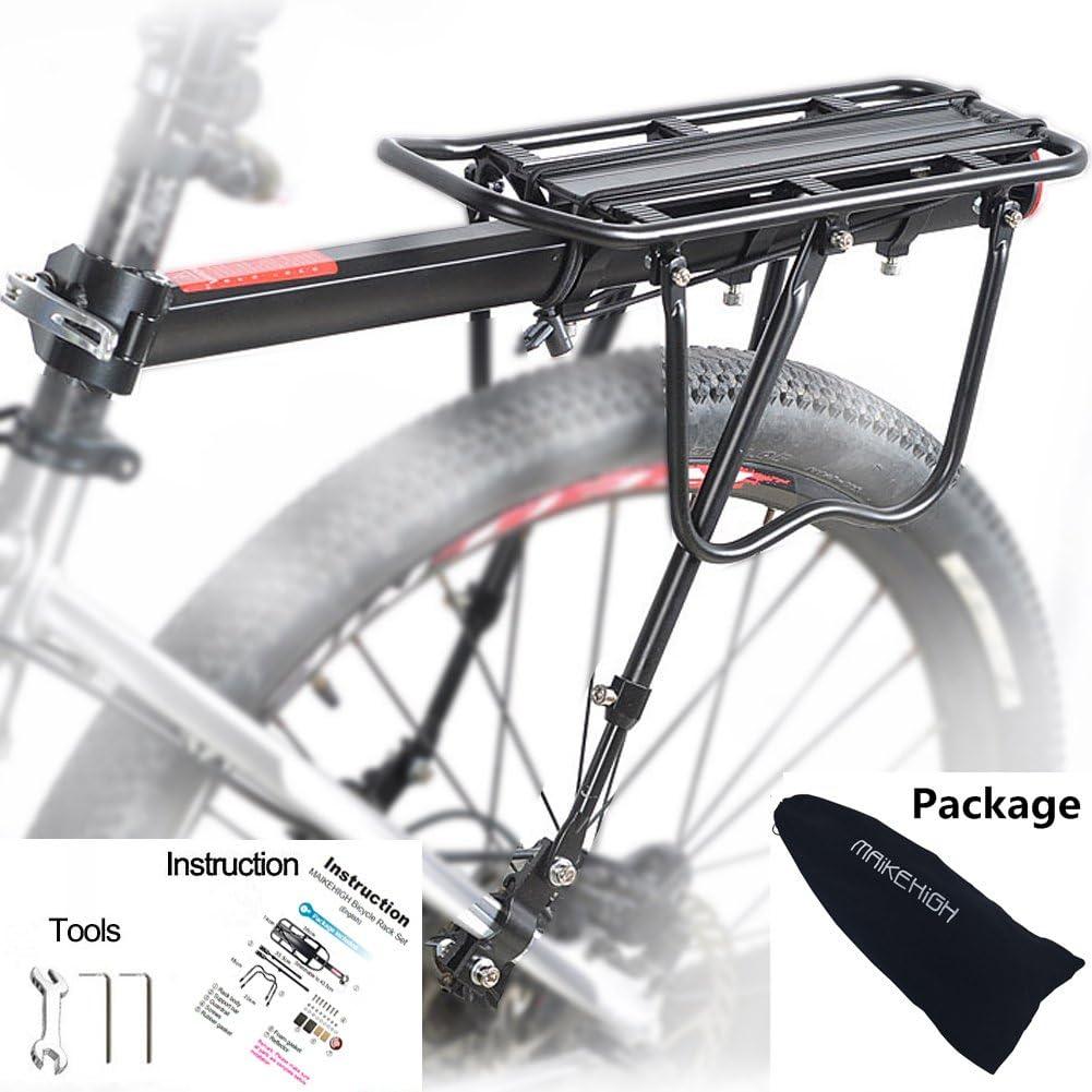 MAIKEHIGH Ajustable Carrier Trasera para Bicicleta portaequipajes Bicicleta Accesorios Soporte de Equipo Footstock Bicicleta Portador Estante con Reflector (A)