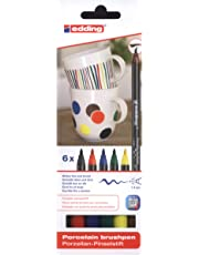 edding 4200 Porzellan Pinselstift (auch für Glas und Keramik). Standardfarben mit 6 Stiften. Zum spülmaschinenfesten bemalen und beschriften von Geschirr, Tassen und Gläsern.