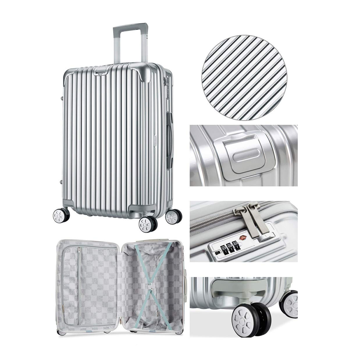 Best Gift Travel Organizer Bahaowenjuguan Hard-Spinning Suitcase 20//22//24 inch Trolley case Carrying Luggage Silver Color : Brown, Size : 26