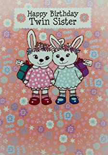 Twin Sister Birthday Card Cute Design Standard 5x7 Size Blank