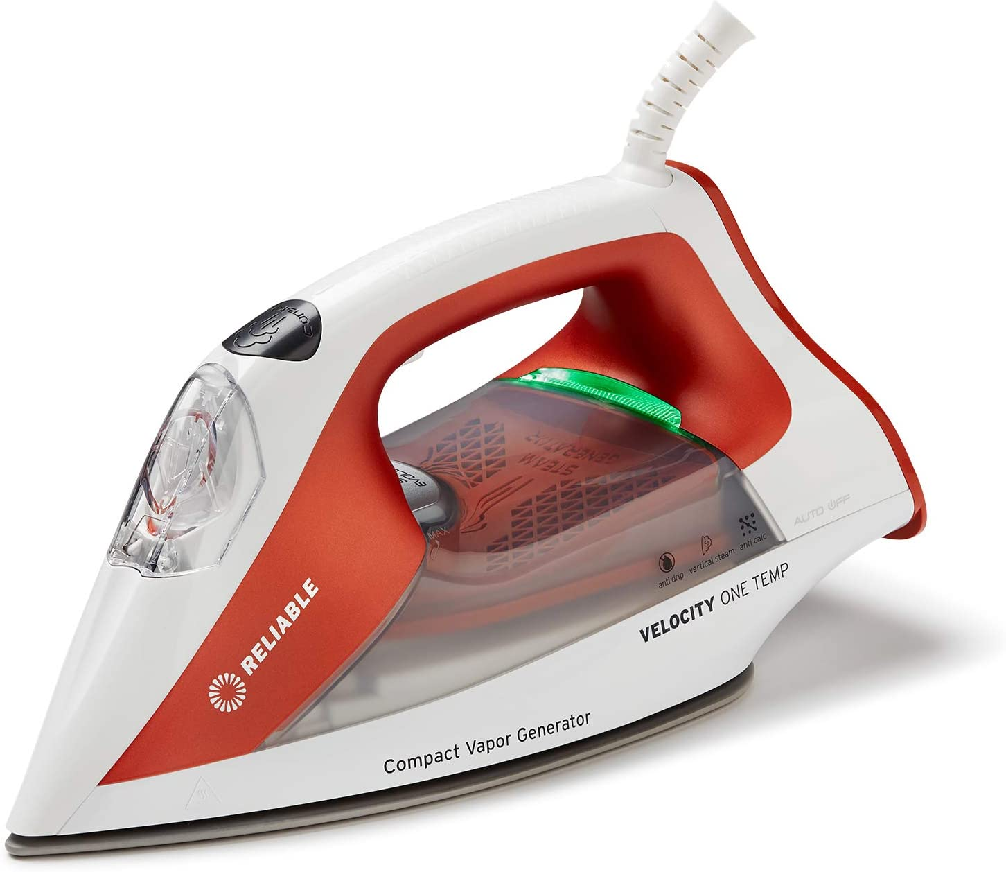 Reliable Velocity 160IR Steam Iron - One-Temperature Compact Vapor Generator Steam Iron, Anti Shine Coated Ceramic Soleplate, Patented Technology for Continuous Steam, Zero Leaks, Perfect Temperature