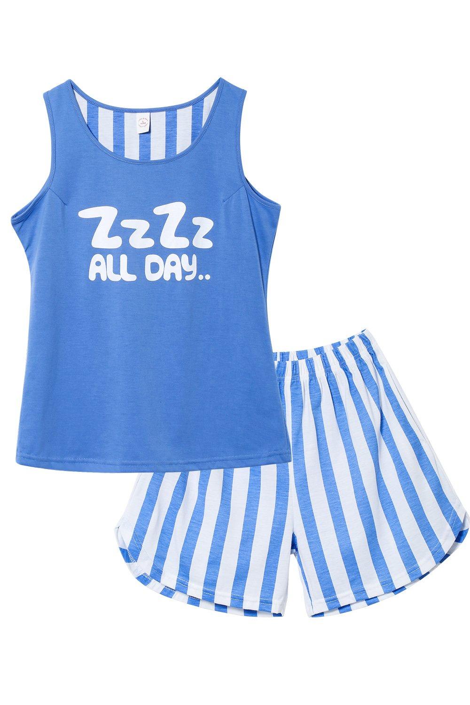 Jashe Tween Girls Summer Cotton Pajama Set Tank & Shorts Sleepwear Nighty for Teens Big Girls,Blue,12