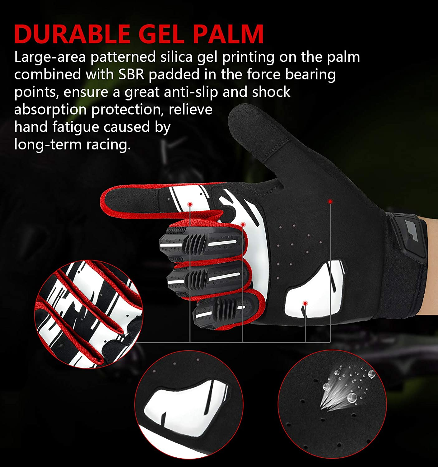Mountain Biking Suitable for Heavy Riding Locomotive Racing Kansoom Cycling-Gloves Breathable-Fabric Silicone-Gel Pad Full Finger Knuckles Protection