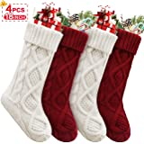 Christmas Stockings, 4 Pack Personalized Christmas Stocking 18 Inches Large Cable Knitted Stocking Decorations for…