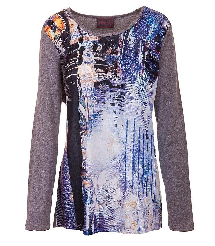 Sempre Piu Langarmshirt Viskose Pailletten Damen Blau Grau Shirt 46 48 50 52 54