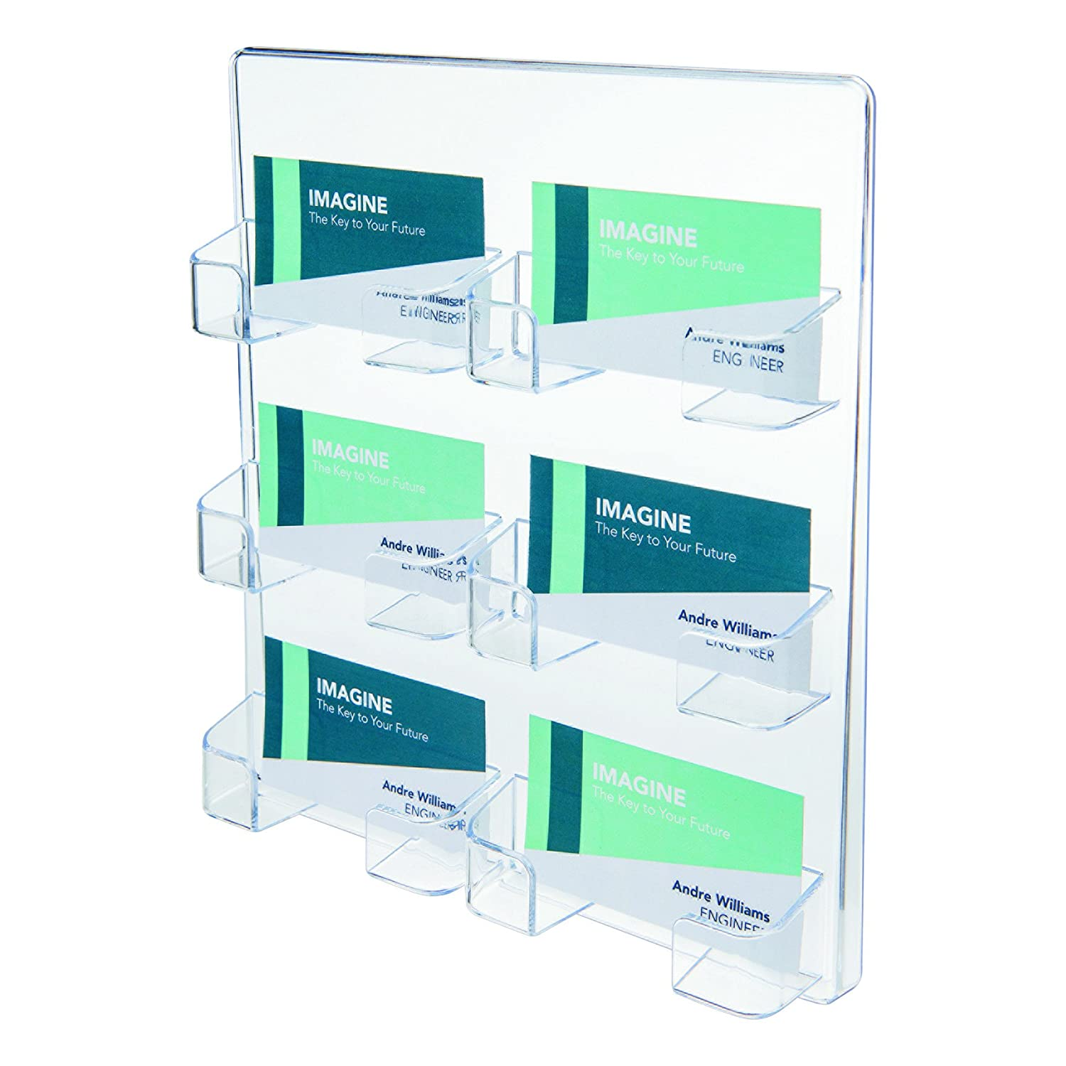 deflect-o 70601 6-Pocket clear plastic wall mount business card holder, 8-3/8w x 1-1/2d x 9-3/4h DEFLECTO CORPORATION