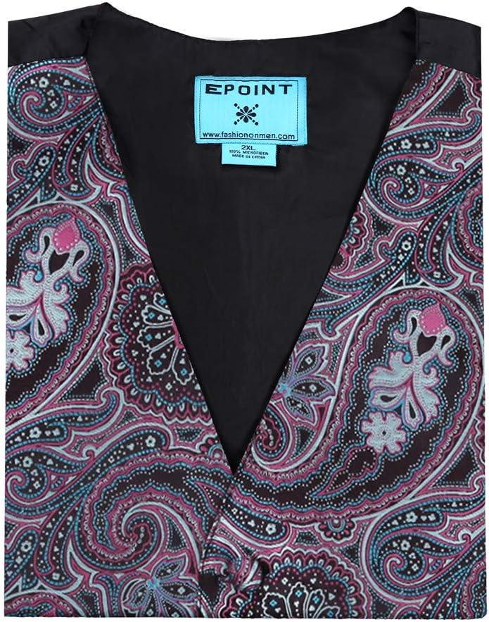 Epoint EGC2B03C-M Purple Blue Waistcoat Paisley Microfiber Black-Back Christmas Tuxedo Vest