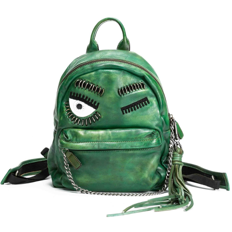 HWX HWX HWX Damen Rucksack, Damen handgefertigte Leder Rucksack Mädchen Persönlichkeit große Augen Muster tragbare Reiserucksack, Schultasche der Kinder (Farbe   C, Größe   28cm33cm14cm) B07L2Z16DF Daypacks Günstiger adcea0