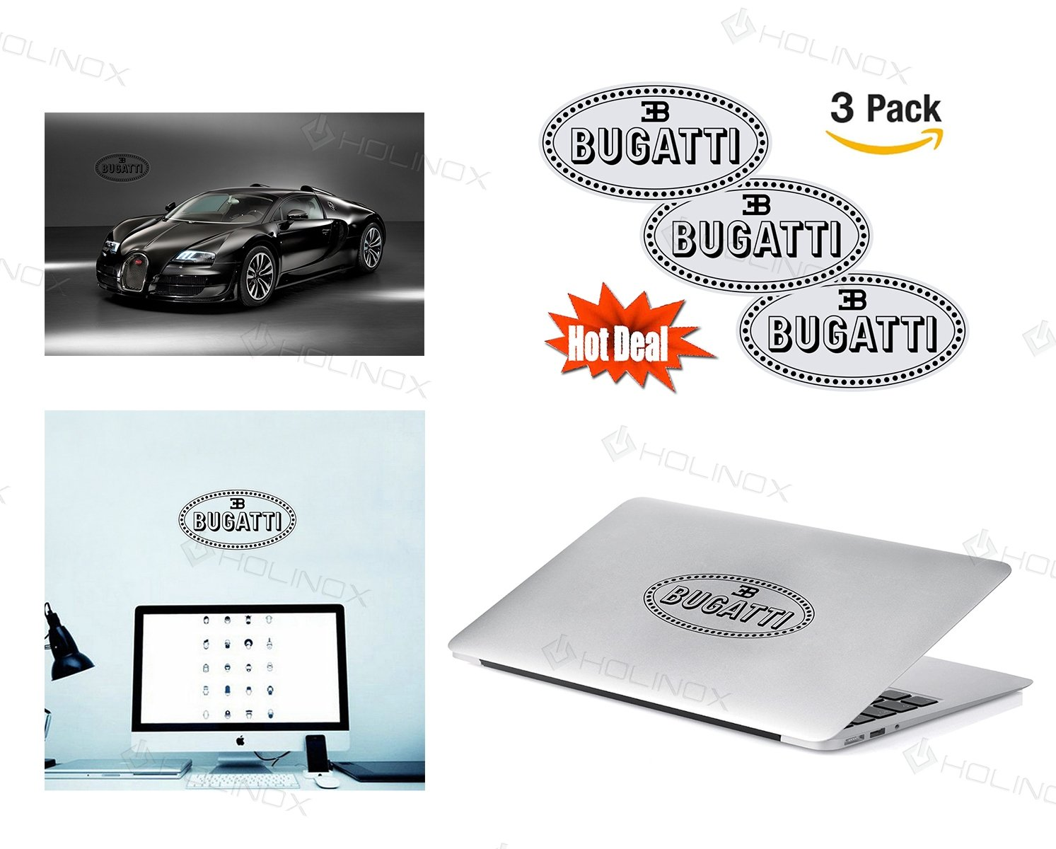 Amazon bugatti logo stickers decal set of 3 decals high amazon bugatti logo stickers decal set of 3 decals high resolution superior finish and transparent background ideal for car motorcycle laptop voltagebd Image collections