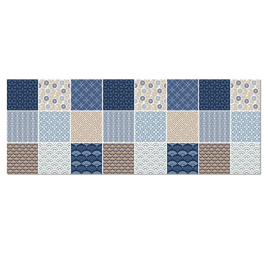 Non-Slip Kitchen Mat Printed Plaid Pattern Anti-Slip Mat Leather Waterproof and Oil-Proof Carpet 4 Sizes 45180cm (Color : Blue, Size : 45150cm)