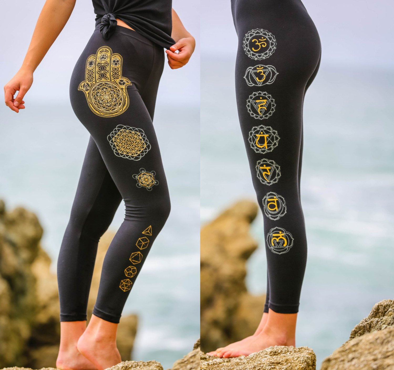 Hamsa Hand Chakra Leggings - Sacred Geometry Yoga Leggings - Glow in the Dark Festival Leggings - Women's Leggings - Black Leggings