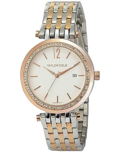 Taylor Cole Damen Quarz Armbanduhr XL Analog Edelstahl Uhrband Datumanzeige TC013