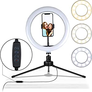 """Aduro U-Stream 10"""" LED Ring Light with Stand, Desktop Light for Home Streaming Selfie Ring Light with Phone Holder for Makeup, Video Live Streaming, and Photography"""