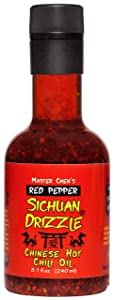 Sichuan Drizzle Chinese Chili Oil -- Condiment & Ingredient, Premium EVOO with Hot Chili Flakes, Rice & Noodles' Condiment, 100% Pure EVOO, Vegan, Gluten-Free & Paleo