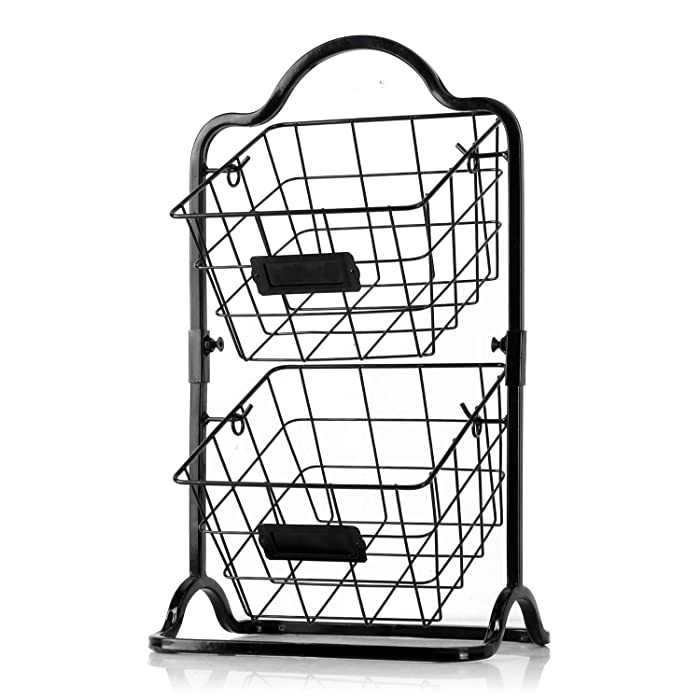 Sunny Living 2-Tier Fruit Basket, Metal Mini Countertop Storage Basket, Black