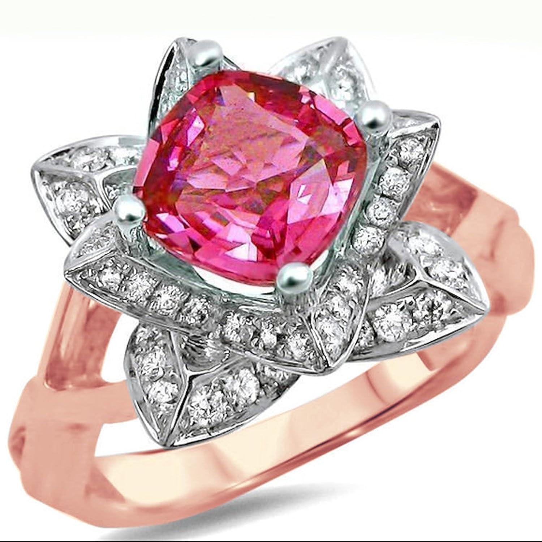 Amazon.com: 2heart 1.70 Ct Cushion Cut Pink Sapphire Sim.Diamond ...
