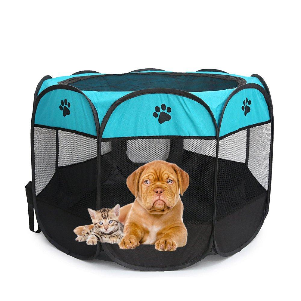 Outdoor Cat Pens Dog Pet Puppy Playpen Tent Portable folding 8 Panels Pop-Up Exercise Kenel Indoor & Outdoor Pens (L 35''Dia x 24''H)