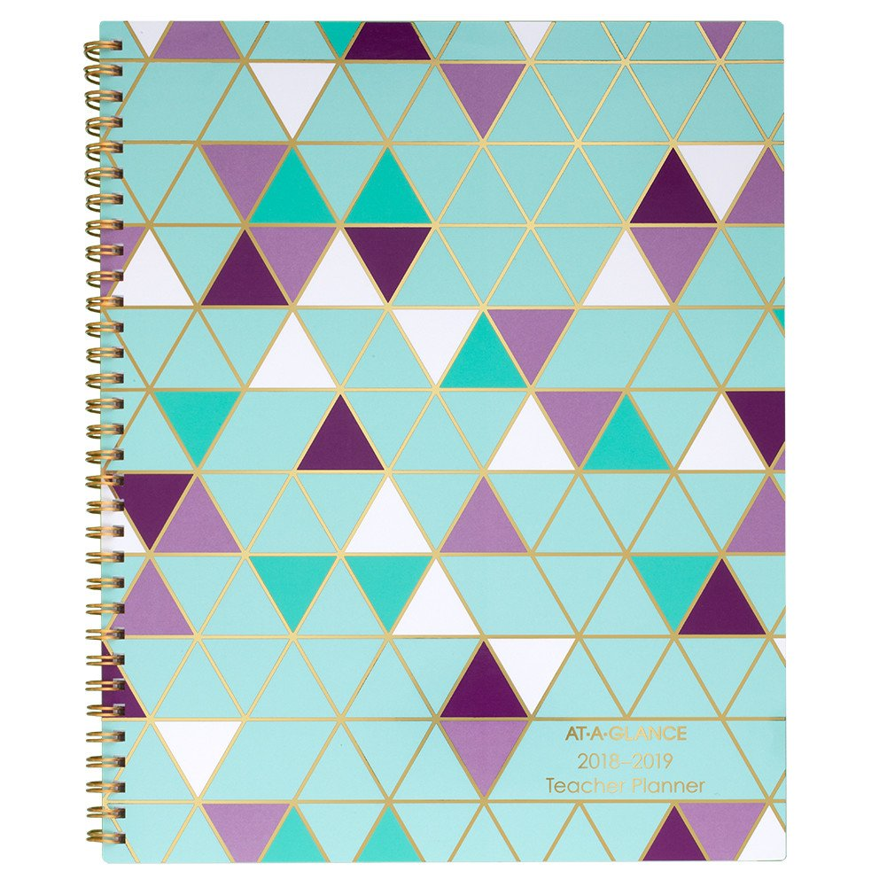 AT-A-GLANCE 2018-2019 Academic Year Weekly & Monthly Teacher Planner, Large, 8-1/2 x 11, Wirebound, Purple/Teal Geo (TP905A35)