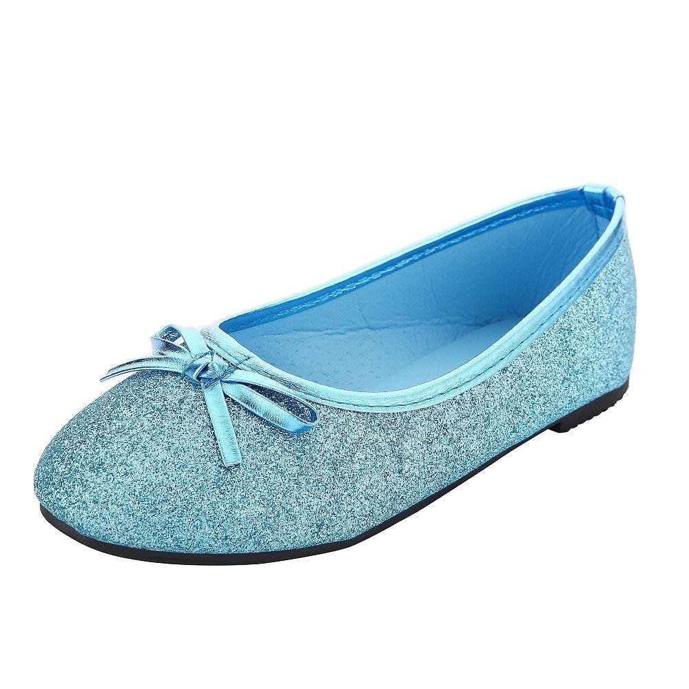 Bling Bling Glitter Fashion Slip On Children Ballet Flats Shoes for Little Kids Girls and Toddler Girl (Toddler Girl Size 10M, Teal Blue)