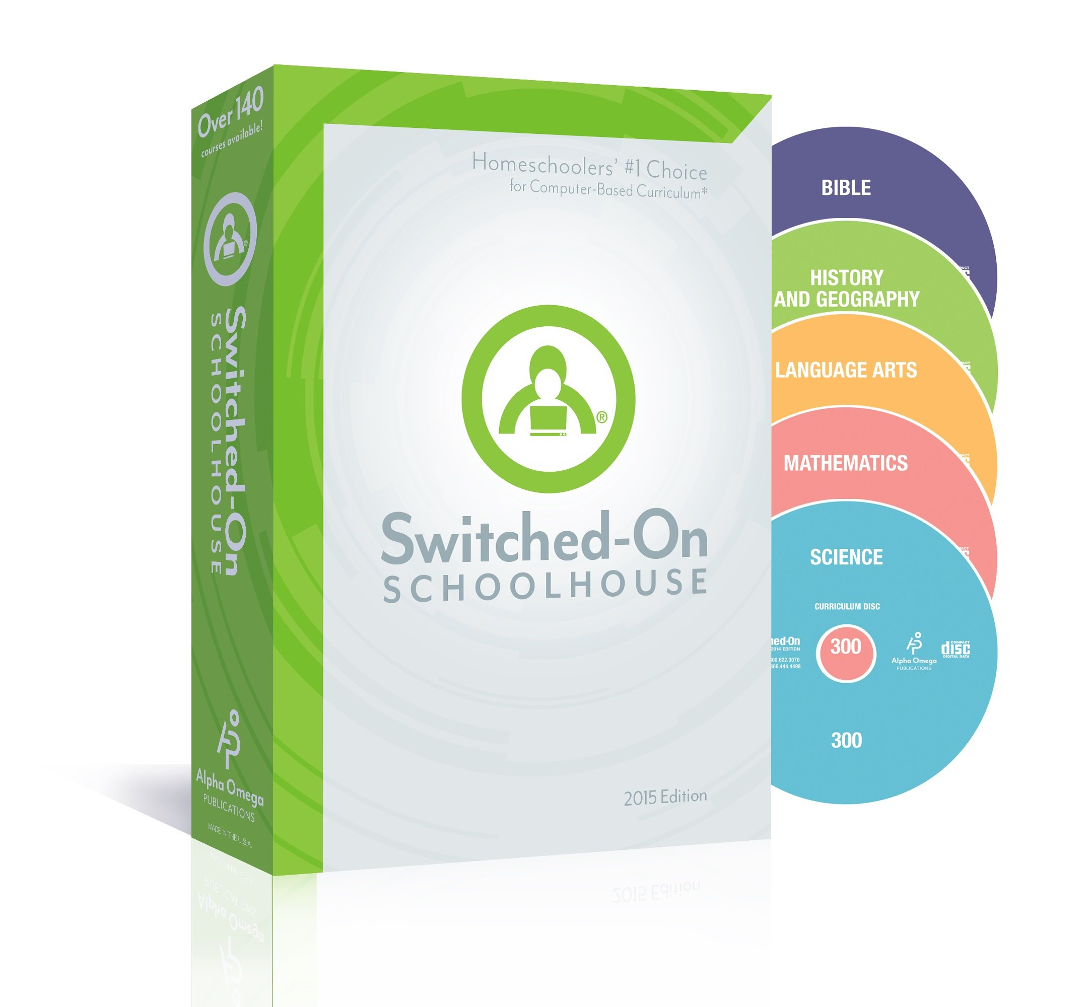2015 Switched on Schoolhouse, Grade 9, AOP 5-Subject Set - Math, Language, Science, History / Geography & Bible (Alpha Omega HomeSchooling), SOS 9TH GRADE CD-ROM Curriculum, Complete Set