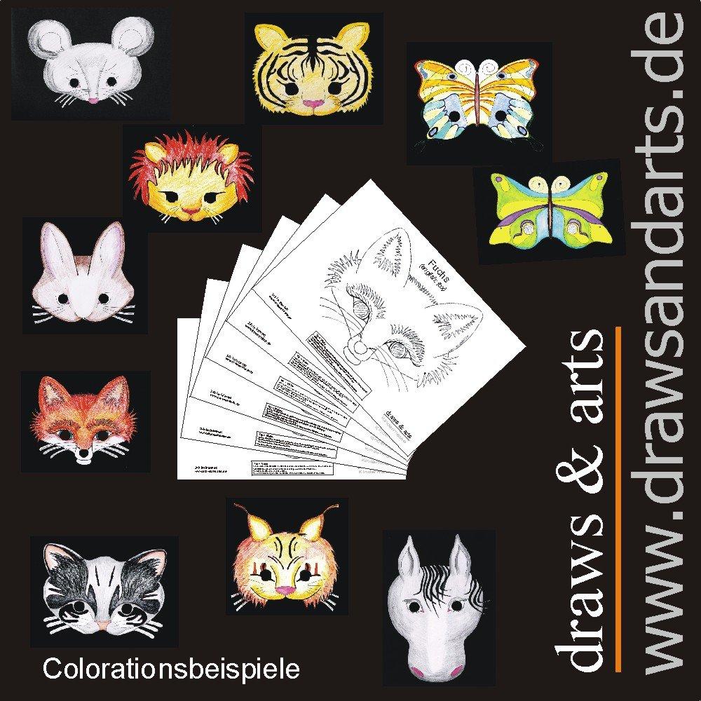 Creative Kinder Masken als Malvorlage -10er Set- Löwe Tiger Pferd ...