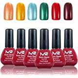 MelodySusie Durable Gel Nail Polish - Party Queen 1 Step Nail Gel Kit with 6 Colors, No Base and Top Coat Needed, Quick Curing with LED or UV Nail Dryer, Easy Soak Off (12ml/Pcs)