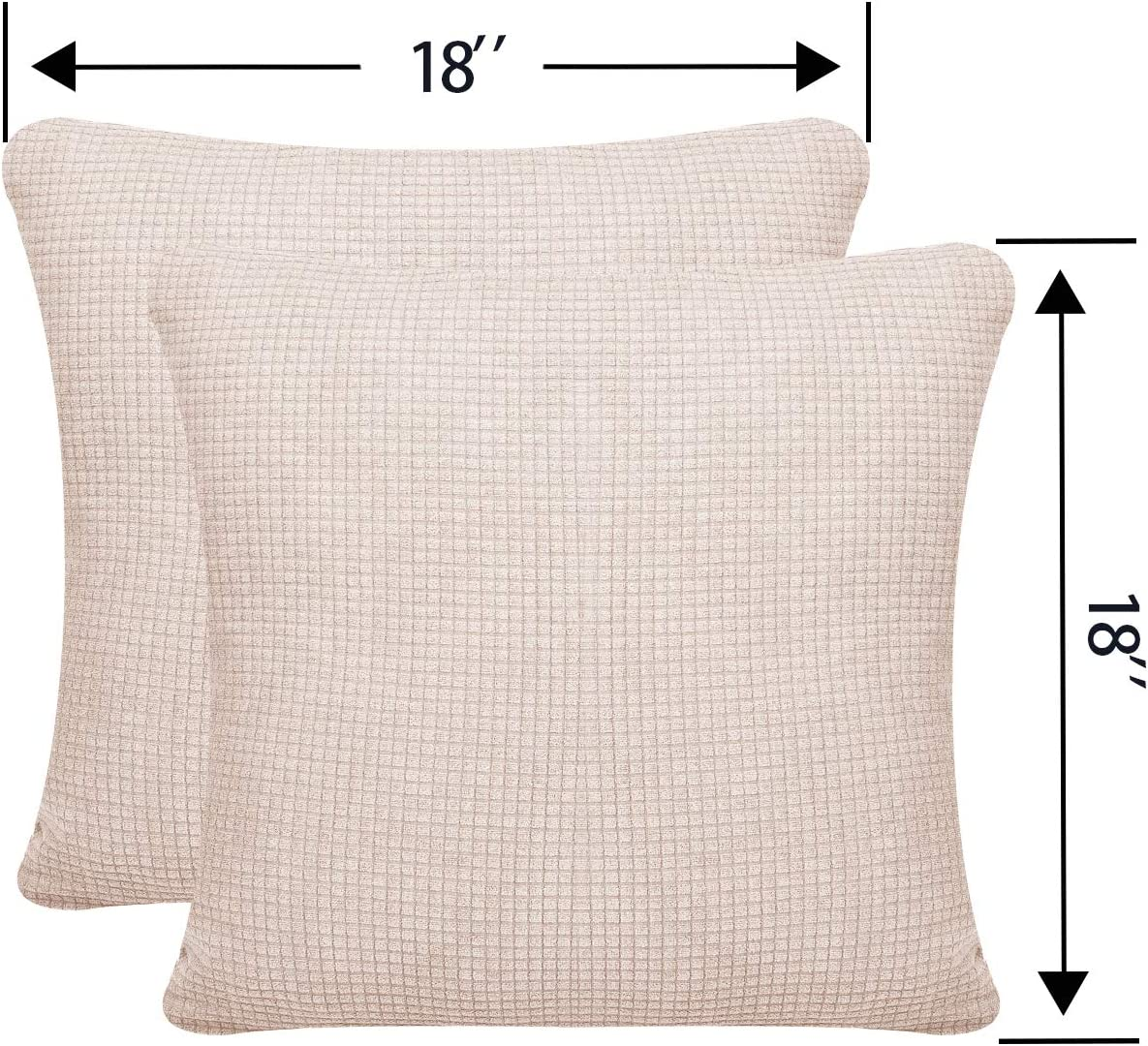 Granbest High Stretch Sofa Throw Pillow Covers Water-Repellent Square Pillowcases Couch Cushion Covers Set of 2 Black, Pillowcases 18x18